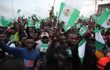 People protest against the excesses ofthe police's Special Anti-Robbery Squad, or SARS,in Lagos on Oct. 20.