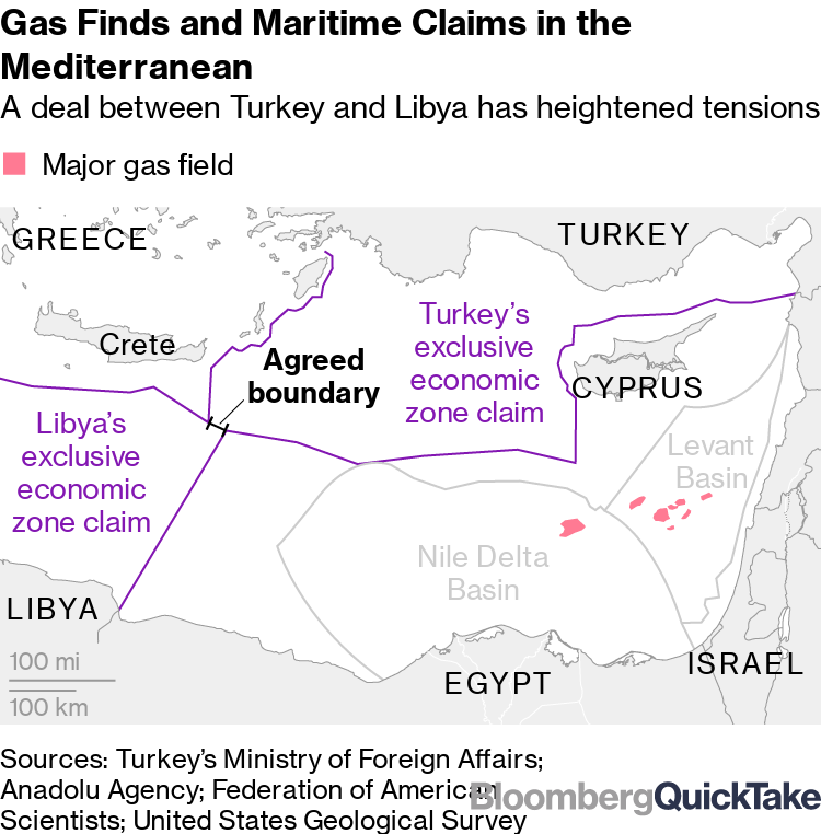 Gas Finds and Maritime Claims in the Mediterranean
